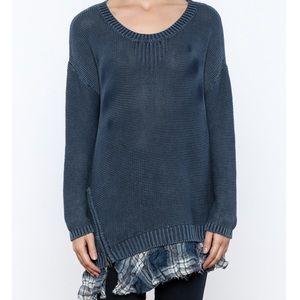 Vintage Havana Navy Blue Knit Zip Plaid Sweater